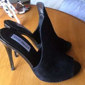 Black Steve Madden slip on mules high heel